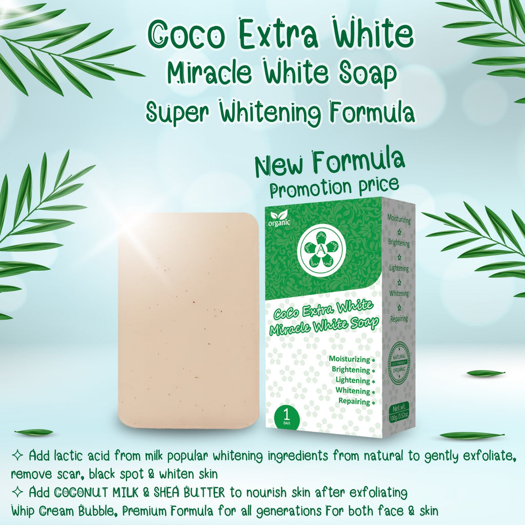 Pack of 2 | ARBUTEE | CoCo Extra White Miracle Premium Natural Whipp Soap (1 Bar, Milky white+Mesh)