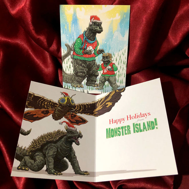 Happy Holidays from MONSTER ISLAND Xmas cards PLUS 5 Ornaments!