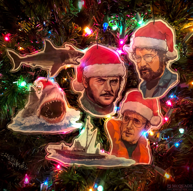 "A Very JAWS Christmas! ""This Holiday, Swallow You Whole"" Xmas Card, PLUS 6 Ornaments"