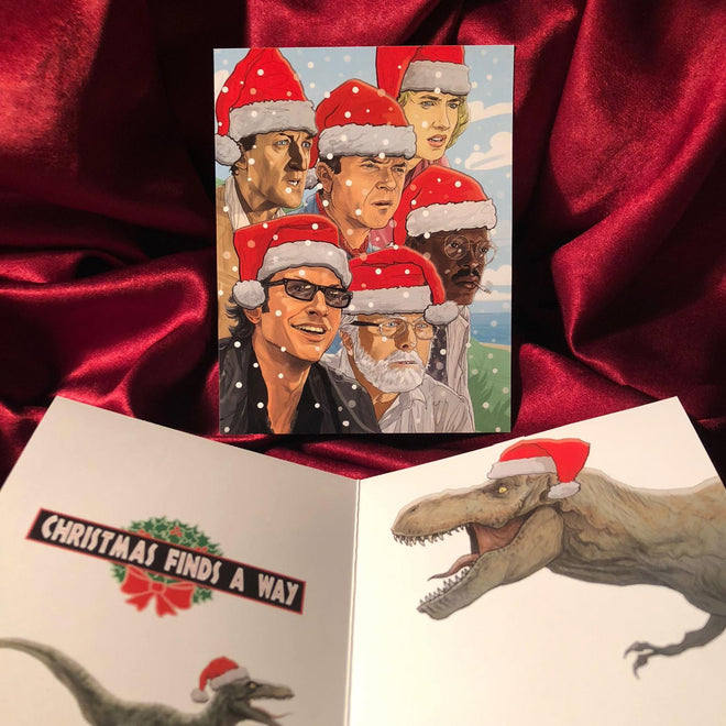 "XMAS in JURASSIC PARK - ""Christmas Found A Way"" Card, PLUS 8 Ornaments!"