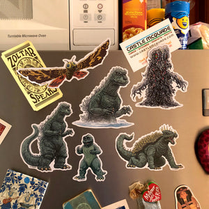 GODZILLA Fridge Magnet 6 Pack SET - Includes FREE Godzilla Bday Card!