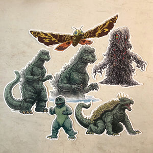GODZILLA Waterproof Sticker 6 Pack SET - Includes FREE Godzilla Bday Card!