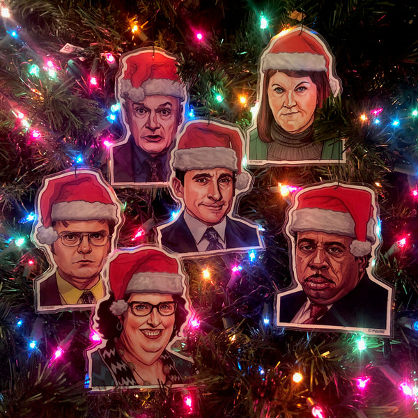 The OFFICE Christmas Ornaments 6 PACK SET! Free OFFICE Xmas Card with Every Set