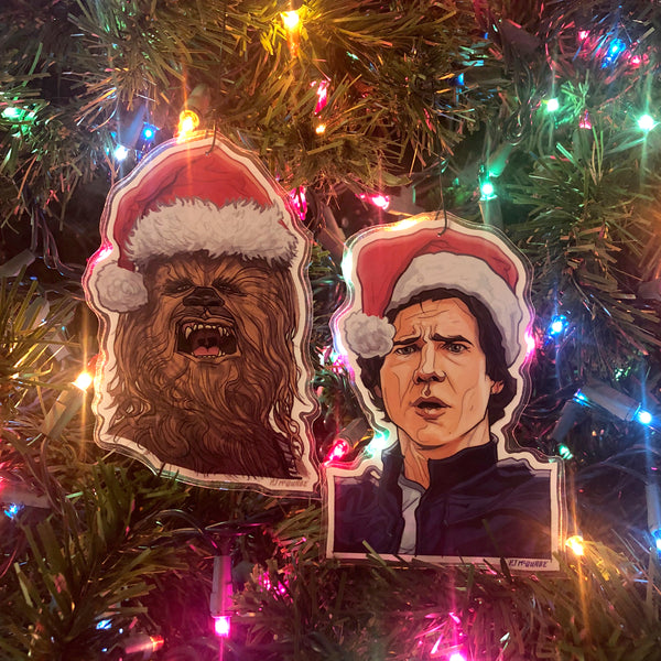 HAN SOLO/CHEWBACCA Star Wars Christmas Ornament Set!