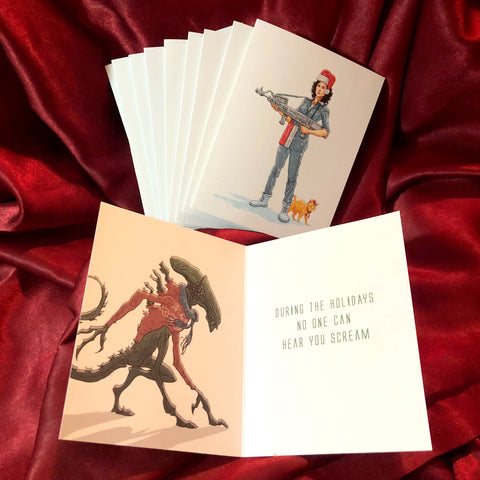 10 PACK ALIEN Christmas Cards!