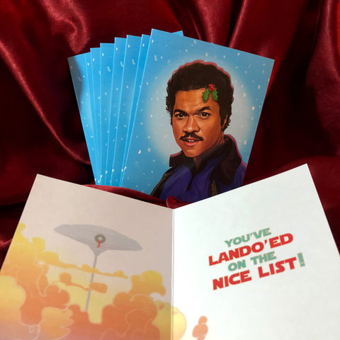10 PACK Lando Calrissian STAR WARS Christmas Card!