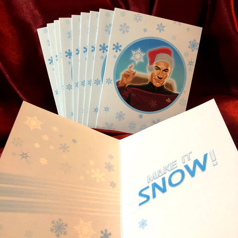 10 PACK PICARD Star Trek Christmas Cards!