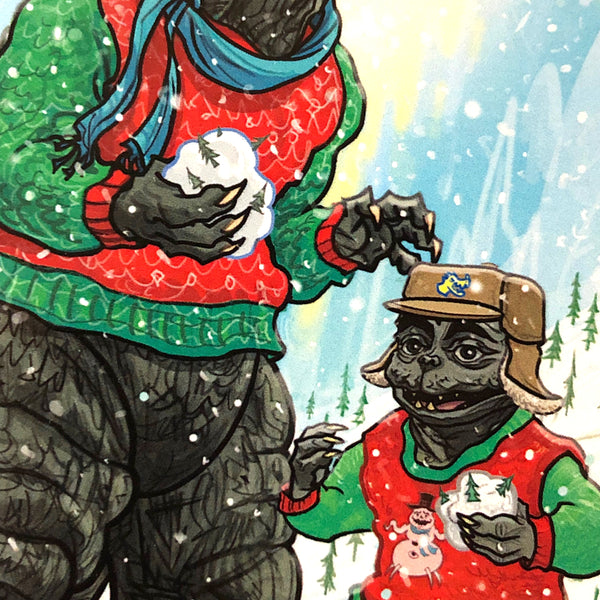 10 PACK GODZILLA Christmas Cards!
