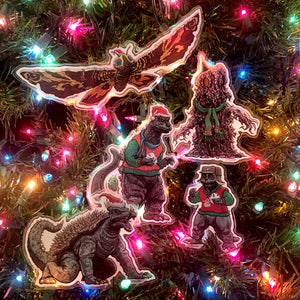 Godzilla MONSTER ISLAND Christmas Ornaments 5 PACK SET! Free GODZILLA Xmas Card with Every Set