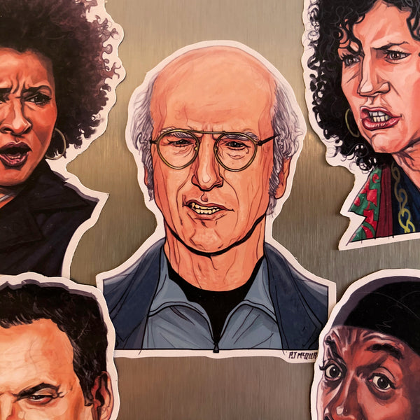 CURB Your ENTHUSIASM Fridge Magnet 5 Pack SET! Includes FREE Larry David Bday Card!