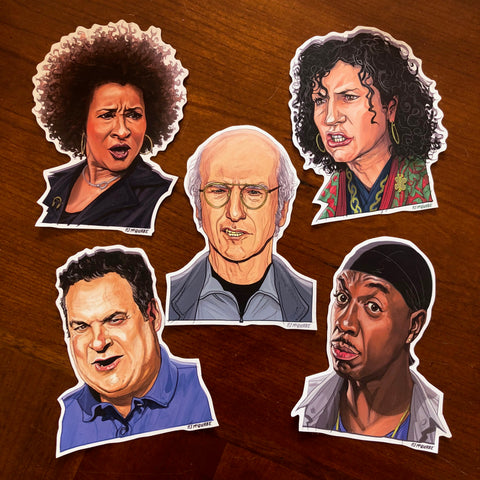 CURB Your ENTHUSIASM Waterproof Sticker 5 Pack SET! Free Larry David Bday Card w/ Every Set!