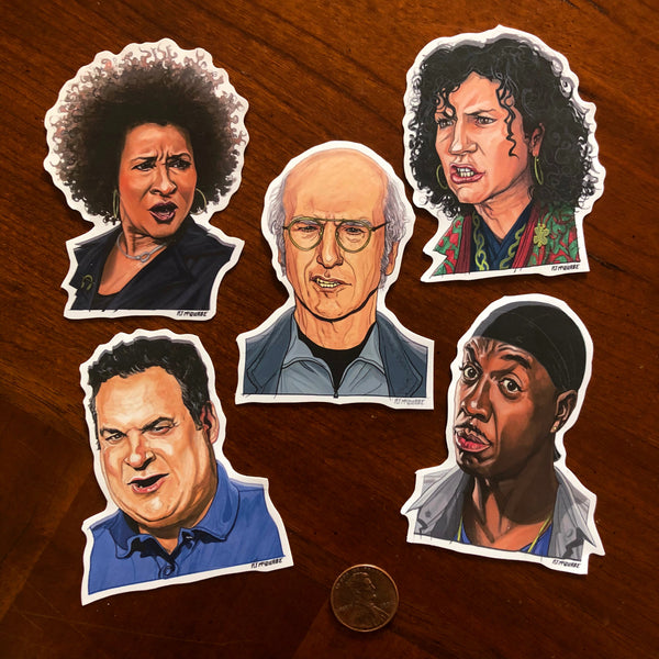 Little CURB Your ENTHUSIASM 5 Pack Sticker SET!