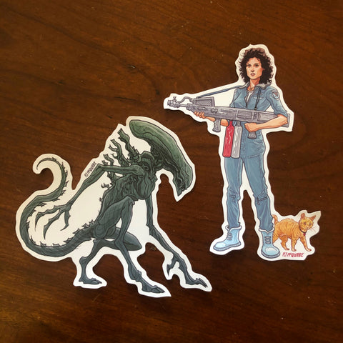 Ripley/Xenomorph ALIEN Waterproof Sticker Combo SET!