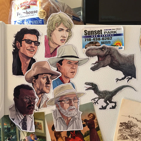 JURASSIC PARK Fridge Magnet SET - Free Ian Malcolm Bday card with Purchase!