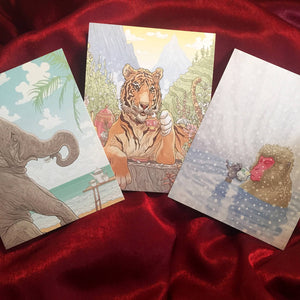 Animals Drinking TEA greeting cards 3 PACK!