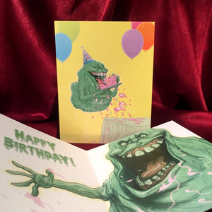 Slimer GHOSTBUSTERS Birthday Card!