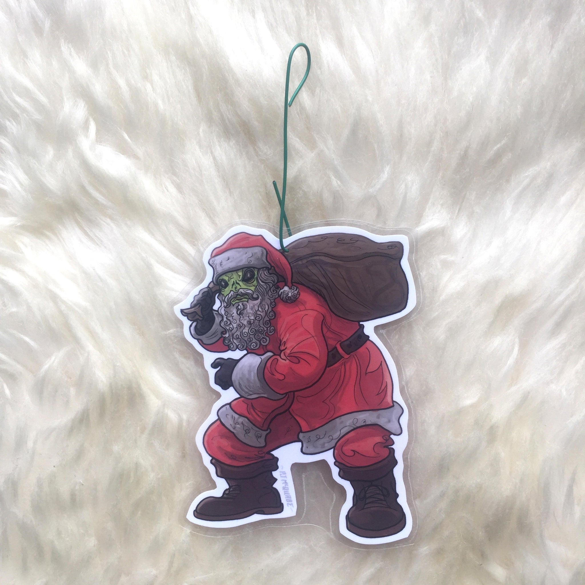 Santa Alien X-FILES CHRISTMAS ORNAMENT!