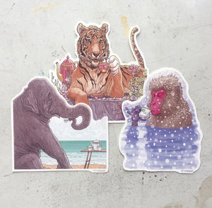 Animals Drinking Tea 3 PACK STICKER COMBO!