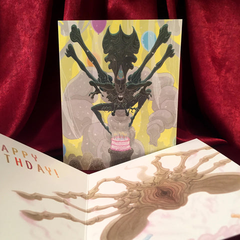 ALIENS Birthday Card with Queen XENOMORPH & FACEHUGGER!