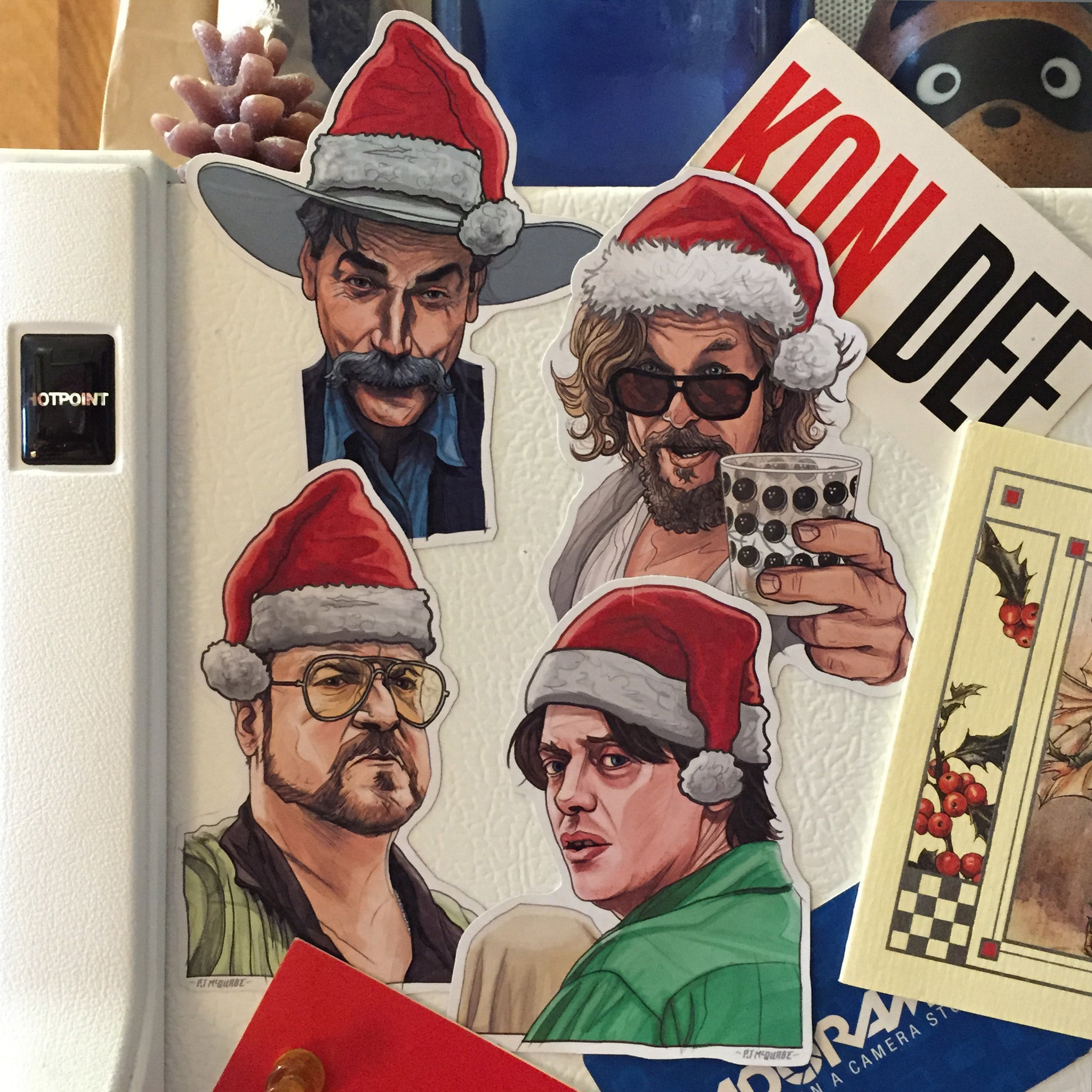 The BIG LEBOWSKI Christmas Fridge Magnet SET!