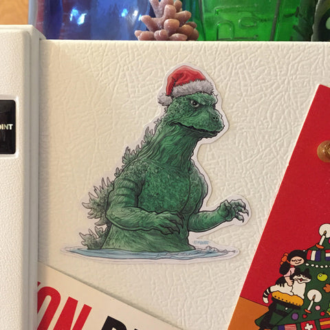 GODZILLA Christmas Fridge MAGNET!