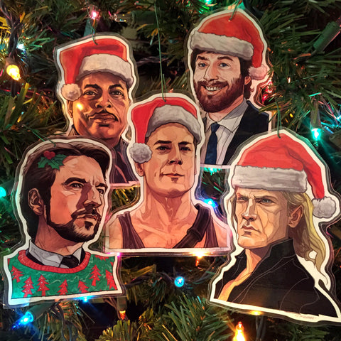 DIE HARD Christmas ORNAMENT 5 Pack Combo - FREE Die Hard XMAS Card with Every Set!