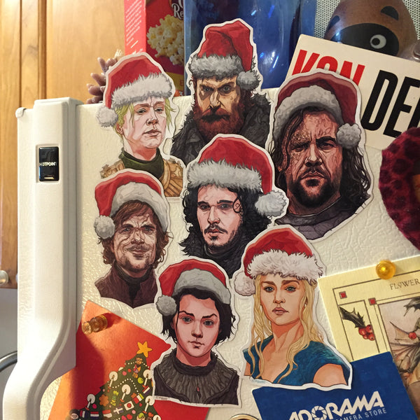 GAME of THRONES CHRISTMAS 7 Pack Fridge Magnets! Free GoT Xmas card with Purchase :)