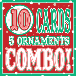 10 CARDS/5 Xmas Ornaments DISCOUNT COMBO!