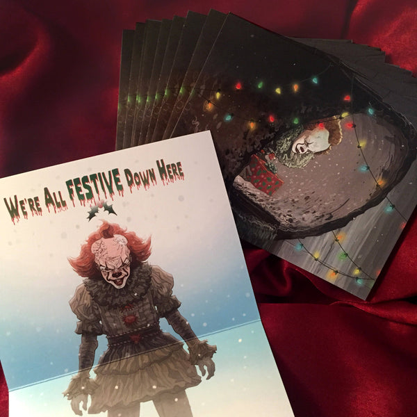 10 PACK Pennywise 2017 IT Christmas CARDS!