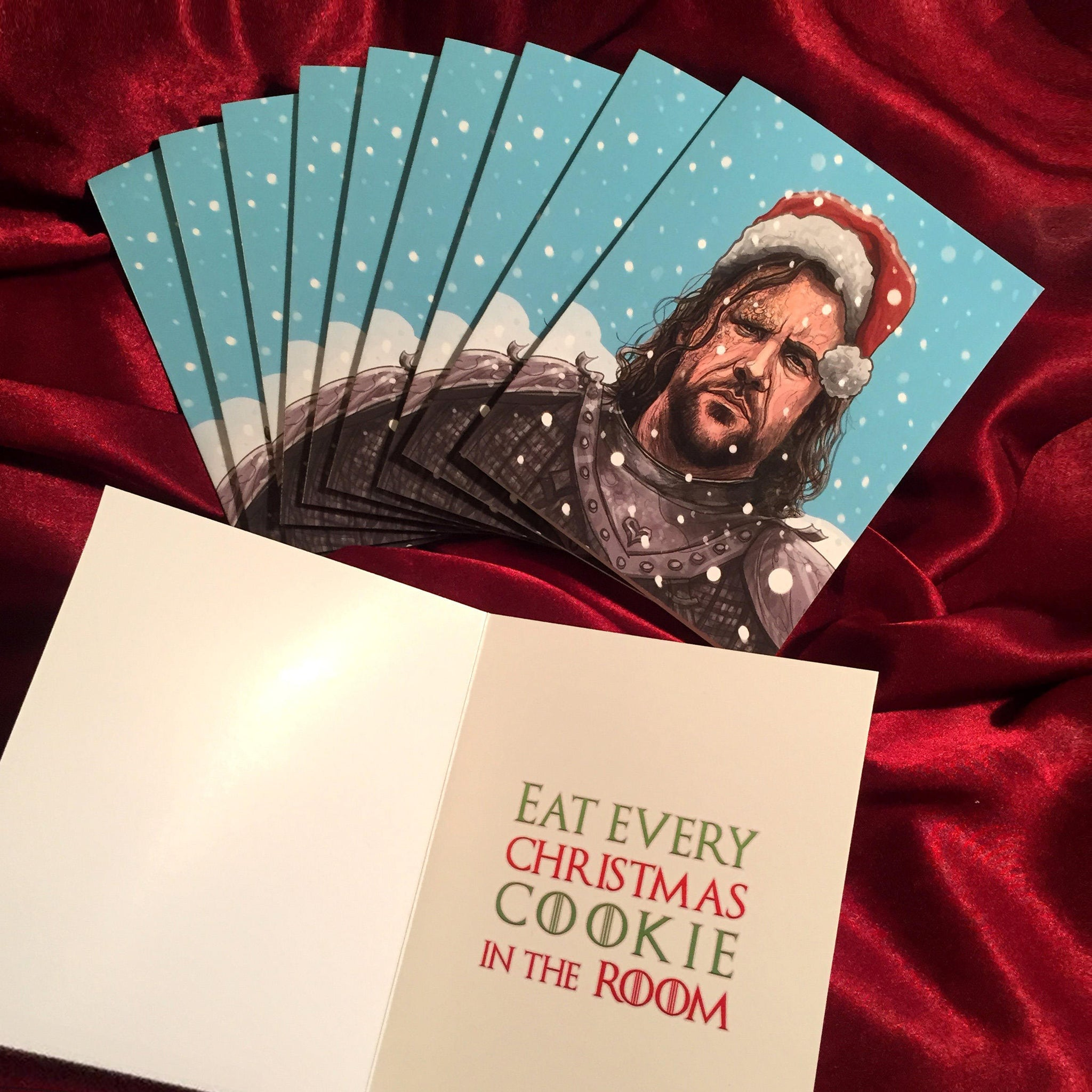 10 Pack THE HOUND Game of Thrones Christmas CARD!