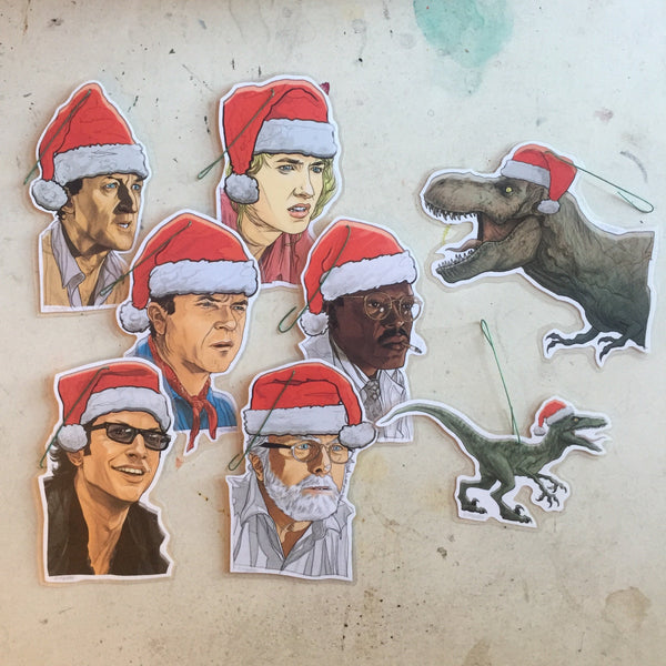 JURASSIC PARK Christmas Ornament 8 Pack SET - FREE Jurassic Park Xmas Card with Every Set!