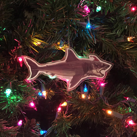 SHARK Side View JAWS Christmas ORNAMENT!