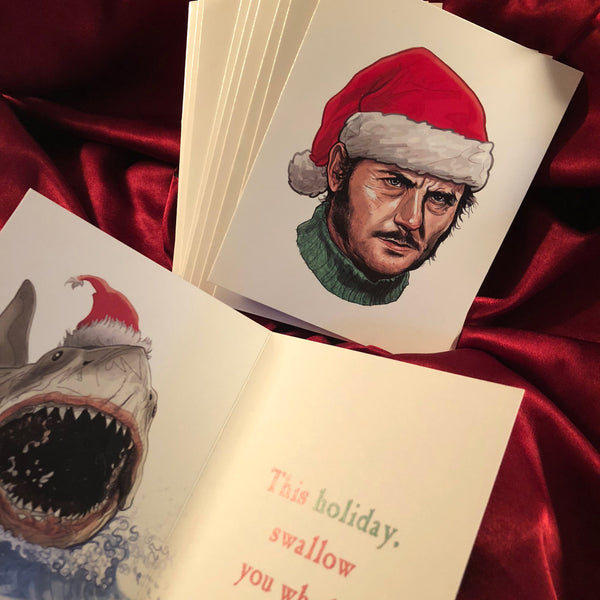 10 Pack QUINT Jaws Christmas CARDS!