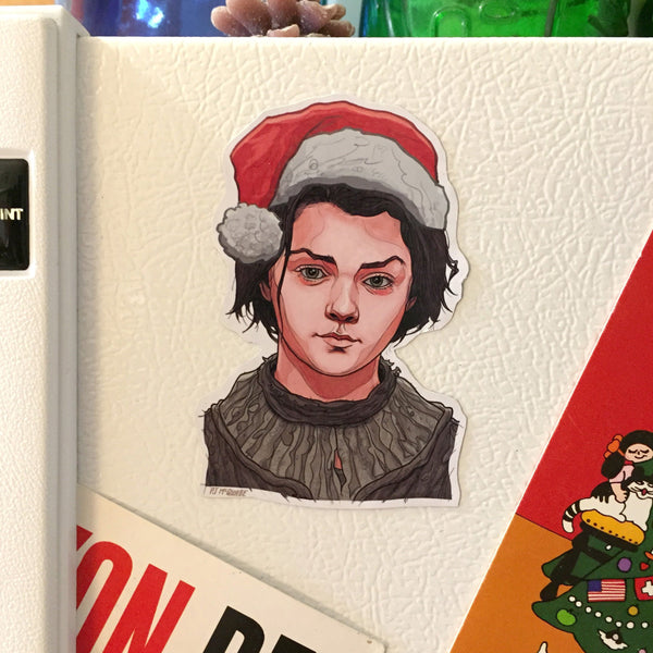 ARYA STARK Game of Thrones CHRISTMAS Fridge Magnet!