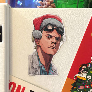 DOC BROWN Back to the Future Christmas Fridge MAGNET!