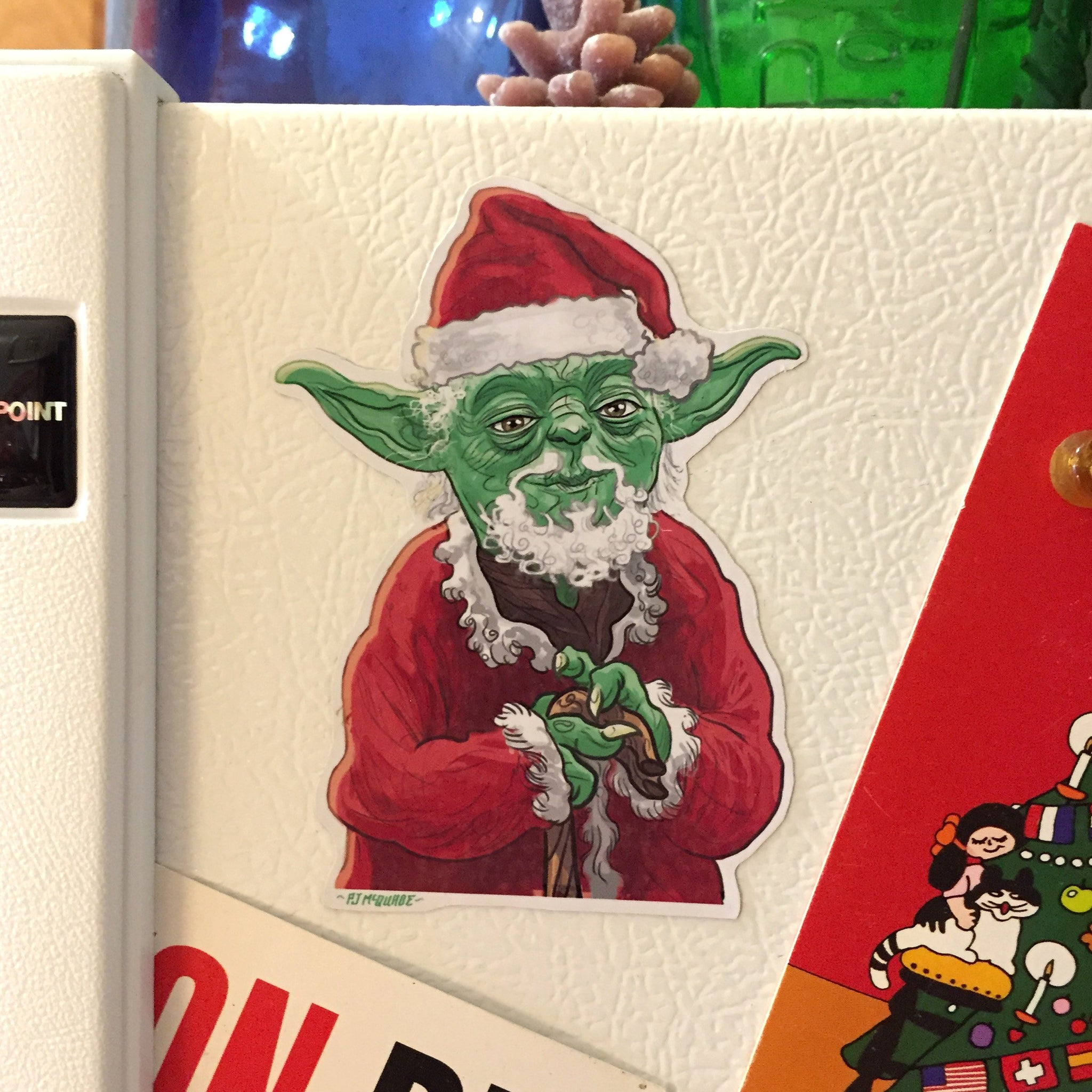 YODA CLAUS Star Wars CHRISTMAS Fridge MAGNET!