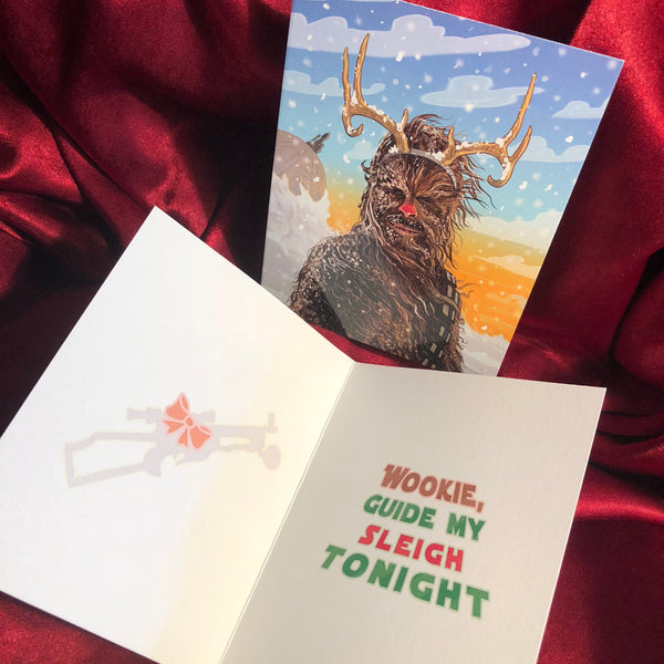 CHEWBACCA the Red Nosed Reindeer STAR WARS Christmas Card!
