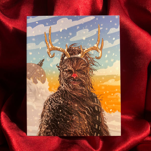 10 PACK CHEWBACCA the Red Nosed REINDEER STAR WARS Christmas Cards!