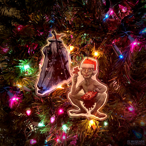 GANDALF/GOLLUM Lord of the Rings Christmas Ornament COMBO!