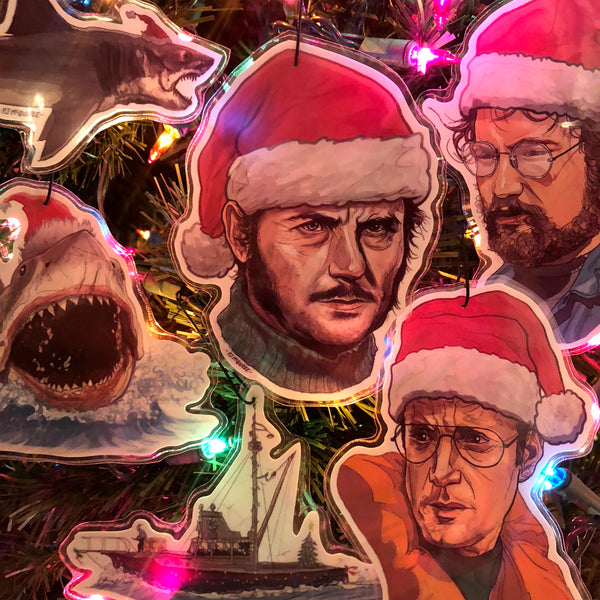 JAWS Christmas ORNAMENT 6 Pack SET - FREE QUINT XMAS Card w/ Every Set!