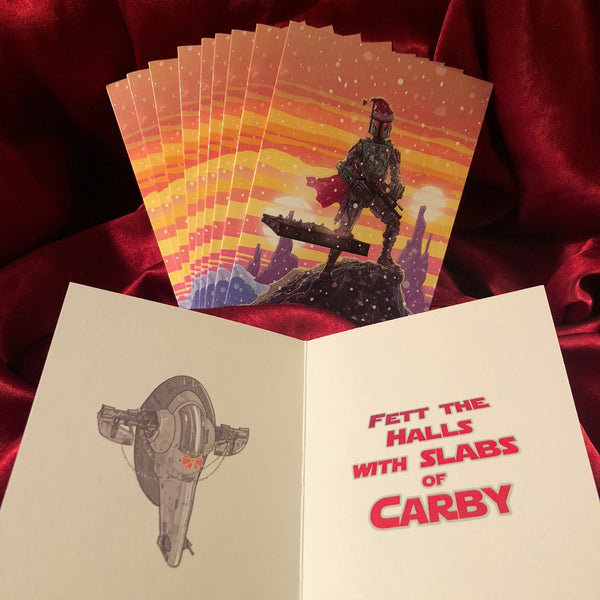 10 Pack BOBA FETT Star Wars Christmas CARDS!
