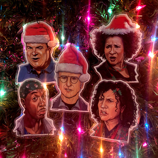 CURB Your ENTHUSIASM Christmas Ornaments 5 PACK!