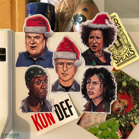 CURB Your ENTHUSIASM Christmas Fridge Magnet SET!