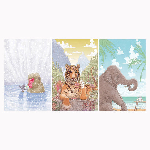 "Snow Monkey/Tiger/Elephant Frinking Tea 13x19"" 3 PRINT COMBO!"