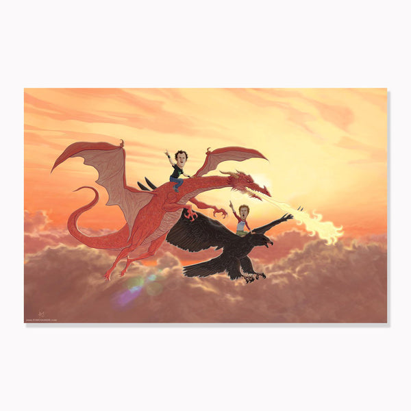 "STEP BROTHERS 13x19"" Nighthawk/Dragon Giclee Limited Edition PRINT!"