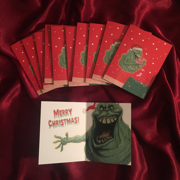 10 PACK Ghostbusters SLIMER Christmas Cards!