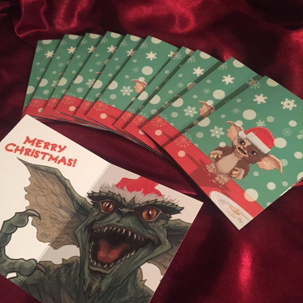 10 PACK Gremlins Christmas Cards!