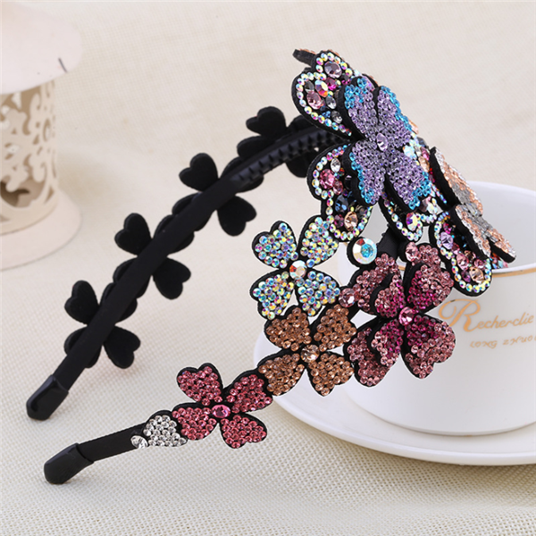 4towish-Fashionable Flower Water Drill Wide Headband