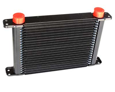 "PWR Engine Oil Cooler - Plate & Fin 280 x 189 x 37mm (21 Row) with 9"" SPAL fan mounts"