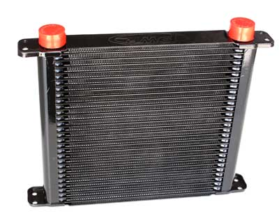 "PWR Engine Oil Cooler - Plate & Fin 280 x 256 x 37mm (28 Row) with 9"" SPAL fan mounts"